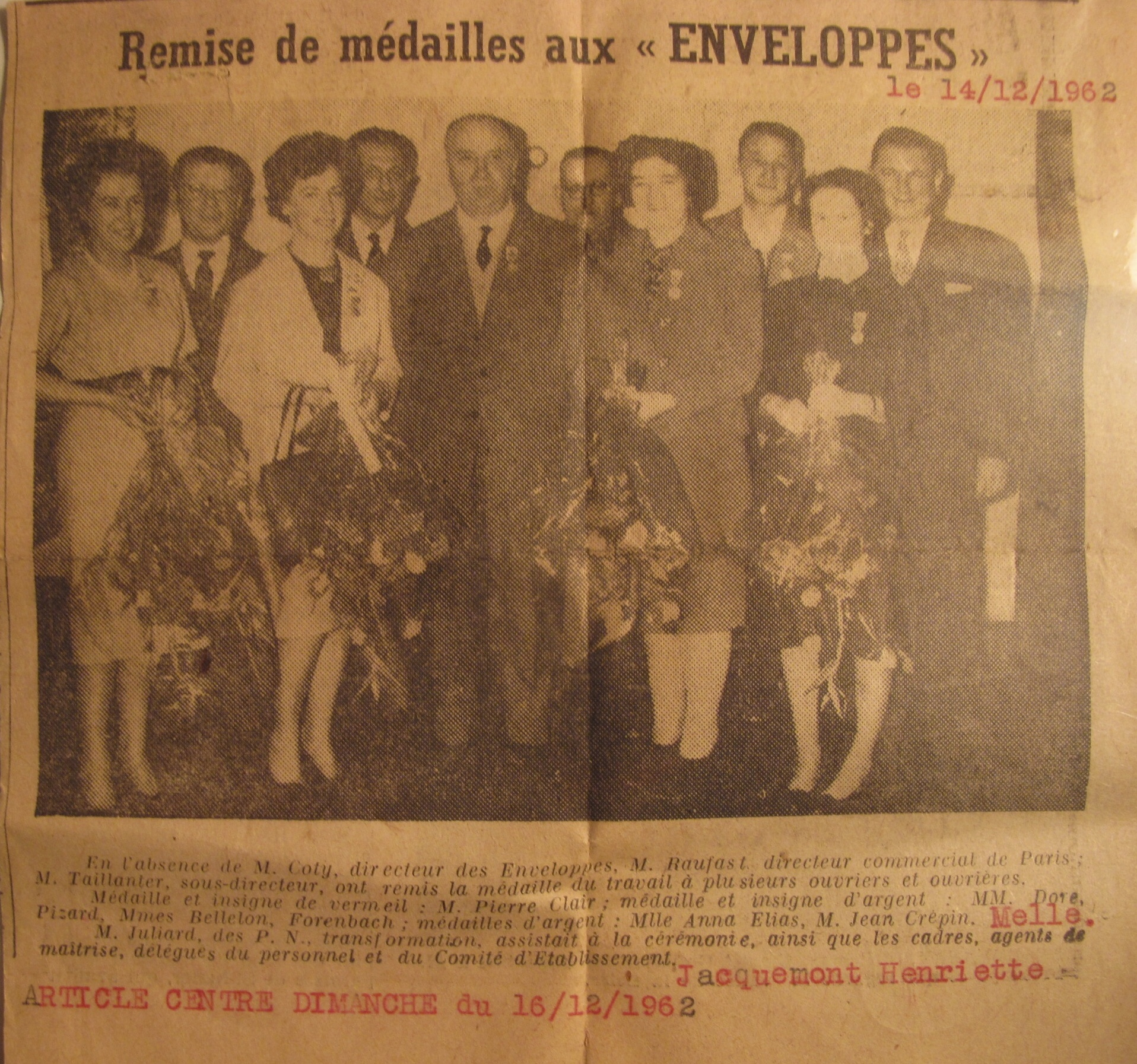 Remise Medailles Papateries Navarre 1962